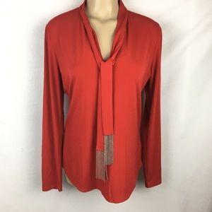 Michael Kors Red Neck Tie Long Sleeve Top L